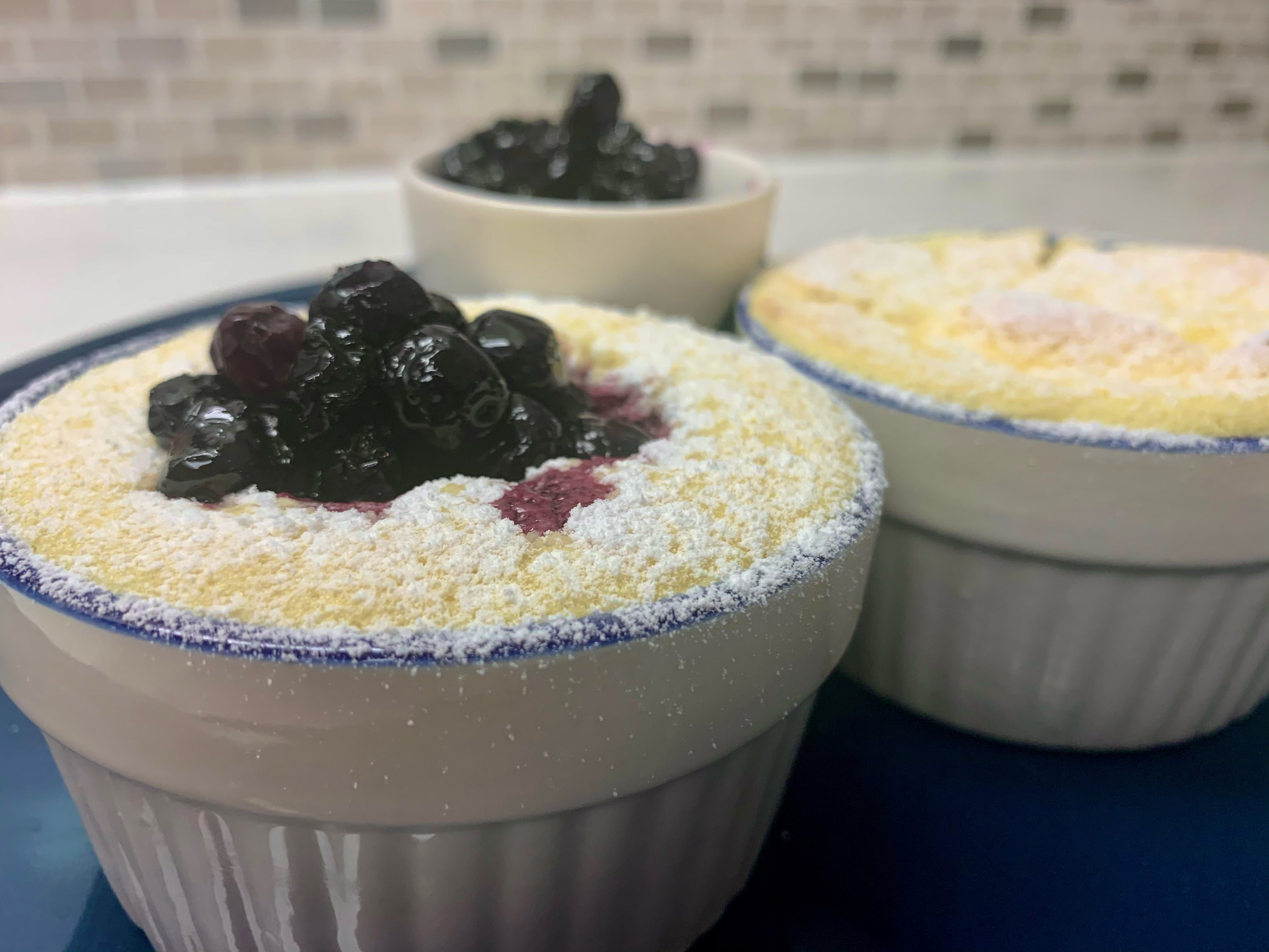 Baked Lemon Pudding With BC Blueberry Compote
