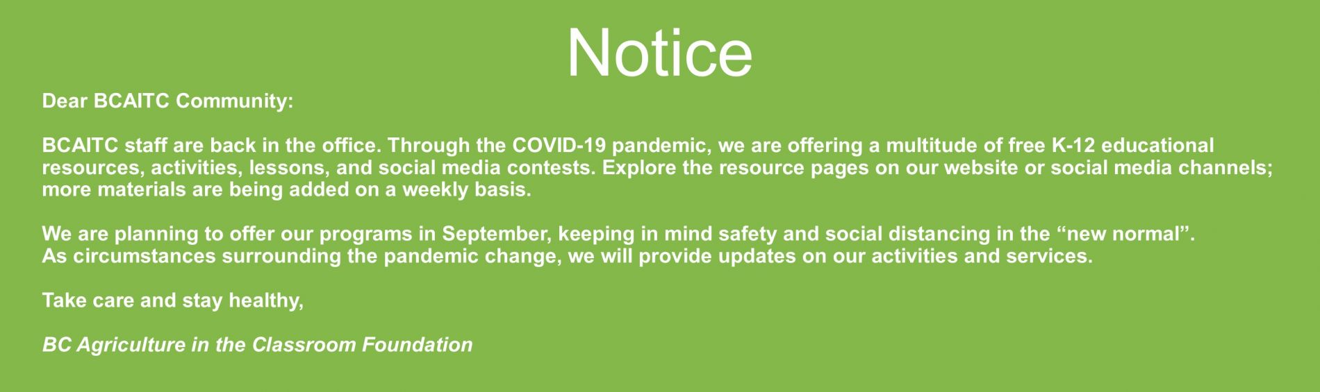 COVID-19 Updated Notice